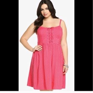 Torrid Pink Polka Dot Lace Up Mini Dress sz 2